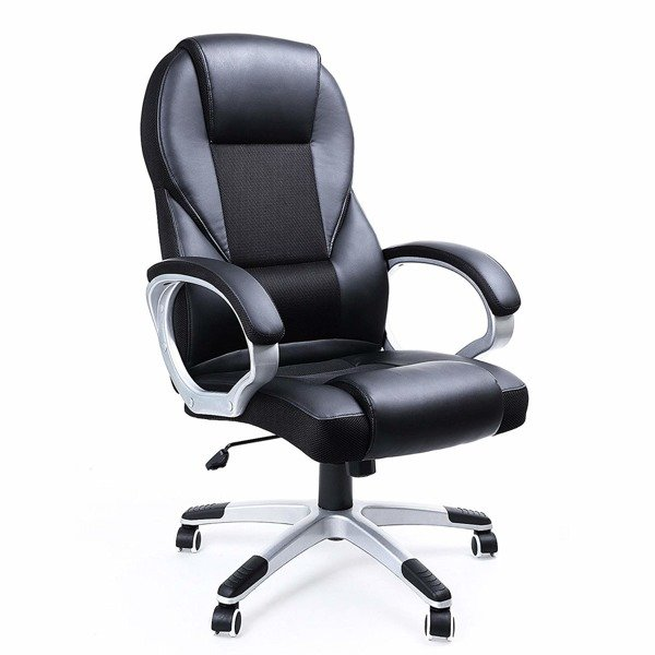 Songmics Ergonomic office chair, imitation leather, black, 73 x 70 x 122 cm