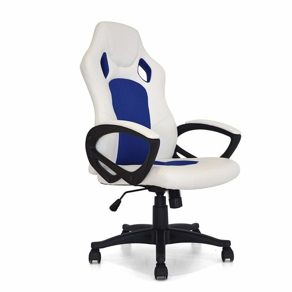 Your Office Office Gaming, Chrome-plated Metal, Leatherette, Sporty Design, 61x68x107 cm, White and Blue